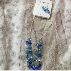 Blue glass beads necklace & earring set